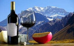 Picture landscape, mountains, wine, glass, bottle, Apple, cheese, tube