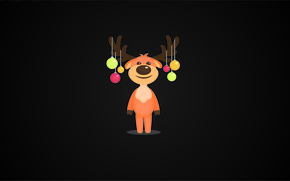 Picture balls, black, new year, Christmas, minimalism, deer, Milota