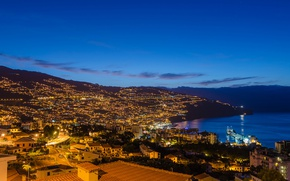 Picture twilight, coast, dusk, Portugal, blue hour, Madeira, Funchal