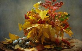 Picture autumn, leaves, mushrooms, bouquet, still life, Rowan, mushrooms