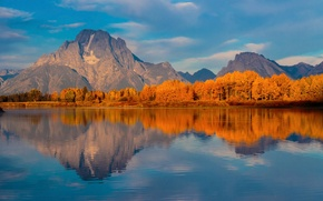 Picture autumn, USA, Wyoming, national Park Grand Teton, Oxbow Bend