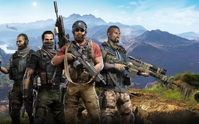 Wallpaper The sky, Helicopter, Mountains, South America, Squad, Tom Clancys Ghost Recon: Wildlands, Weapons, Look, Clouds, ...