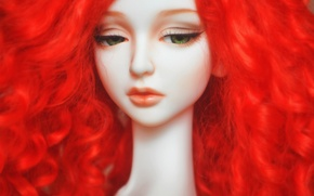Picture sadness, face, eyelashes, mood, hair, doll, red, doll