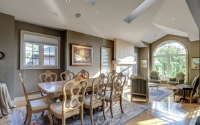 Picture design, table, chairs, dining room