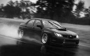 Picture rain, white, Subaru, black