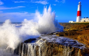 Picture sea, the sky, squirt, storm, rocks, lighthouse