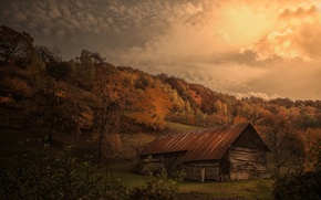 Picture autumn, the barn, hill