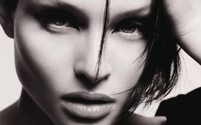 Picture eyes, girl, face, black and white, portrait, brunette, lips, singer, Sophie Ellis-Bextor, Sophie Ellis-Bextor