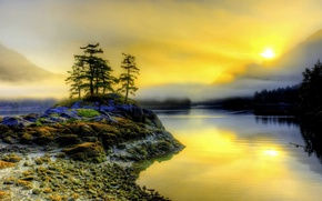 Picture sunset, fog, river