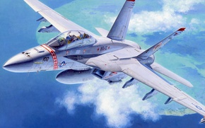 Picture war, art, painting, aviation, jet, FA-18F Super Hornet US Navy Fighter Attacker