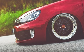 Picture Volkswagen, red, golf, gti, bbs, mk6