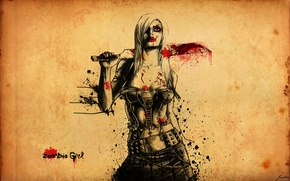 Picture girl, blood, girl, zombie, cleaver