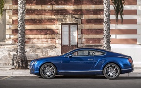 Picture Auto, Bentley, Continental, Blue, Machine, The door, Day, The building, Speed, Coupe, Side view