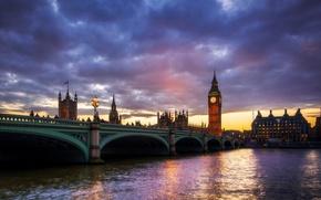 Picture clouds, bridge, river, London, tower, Big Ben, London, Big Ben