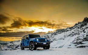 Picture machine, auto, snow, mountains, car, Jeep Wrangler Polar