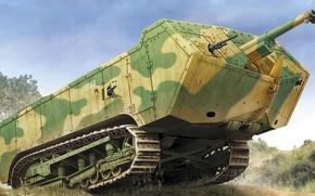 Picture figure, art, French tanks of world war I, Saint-Chamond, Saint-Chamond