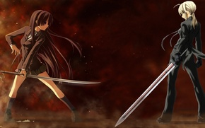 Picture girls, anime, duel, swords