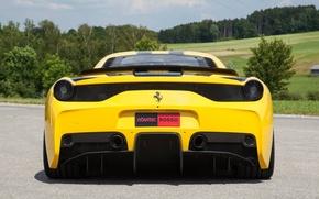 Picture the sky, trees, yellow, ferrari, Ferrari, yellow, back, 458 speciale