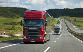 Picture Nature, Road, Truck, Field, Forest, Truck, Scania, Tractor, Scania, Scania Trucks, R730, Р730, Road, Topline