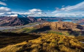 Picture mountains, lake, view, New Zealand, Wanaka