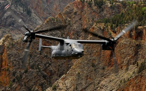 Picture mountains, the plane, the tiltrotor, usaf, V-22 osprey