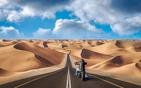 Picture road, sand, the dunes, the way, hills, collage, desert, photoshop, motorcycle, motorcyclist, photo, photographer, Andrés …