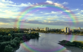 Picture the city, river, the evening, Rainbow, dawn