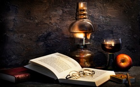 Picture books, lamp, Apple, glasses, Burning the midnight oil