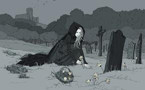 Picture flowers, birds, castle, graves, Girl, monochrome