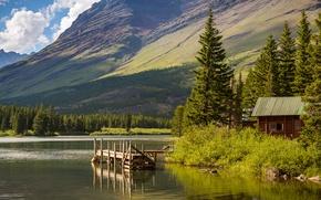 Picture the sky, trees, mountains, lake, house, USA, the bridge, Glacier National Park, Montana, Hike Lake