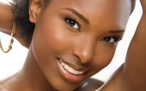 Picture look, girl, portrait, mulatto, black hair, dark skin, African beauty