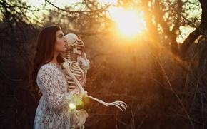 Picture girl, light, skeleton