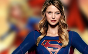 Wallpaper logo, beautiful, muscular, uniform, DC Comics, cape, Kara Zor-El, earrings, smile, girl, woman, singer, season ...