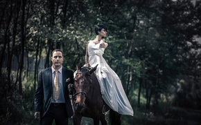 Picture girl, dress, costume, male, horse, top, style in clothes