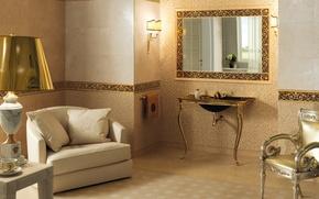Picture gold, lamp, interior, logo, mirror, chairs, brand, bathroom, Versace