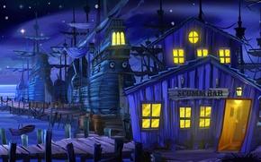 Wallpaper lights, vector, ships, night, pier, bar