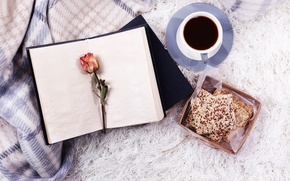 Picture coffee, book, rose