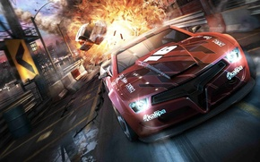 Picture the explosion, drive, speed, Split/Second, red car