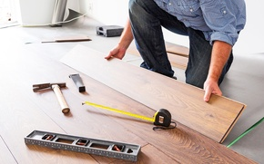 Picture professional, worker, hand tools, floating floors