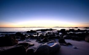 Wallpaper sunrise, stones, shore, morning