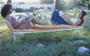 Picture joy, girls, mood, books, bench, smile, reading