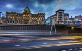 Picture road, bridge, lights, the evening, Scotland, lights, Palace, Glasgow