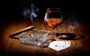 Picture card, light, table, wine, smoke, glass, cigar, twilight, aces, ashtray