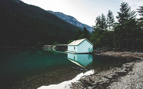 Wallpaper lake, house, Morning, mountains, hills, trees, forest