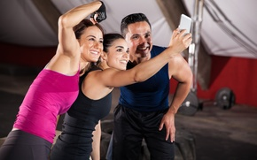 Picture gym, selfie, Group of friends