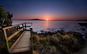 Wallpaper water, railings, the sun, shore, stones, sunset