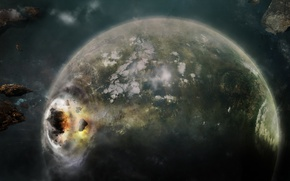 Picture Earth, Apocalypse, asteroids, Space, clash, planet, the explosion