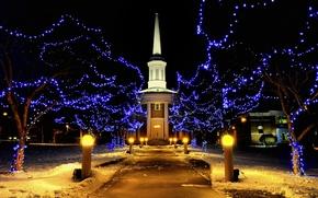 Wallpaper Lights, snow, holiday, winter, lighting, the building, street, night, Christmas, New year, Christmas, lights