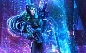 Picture girl, the city, weapons, art, League of Legends, fan art, Caitlyn, LoL, League Of Legends, …