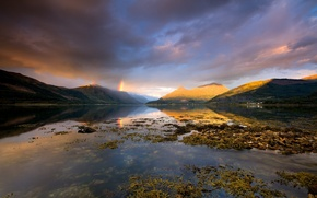 Picture clouds, mountains, clouds, rainbow, Scotland, Loch Leven